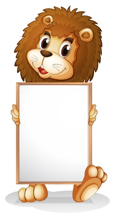 Illustration of a lion holding an empty bulletin board on a white background  Vector
