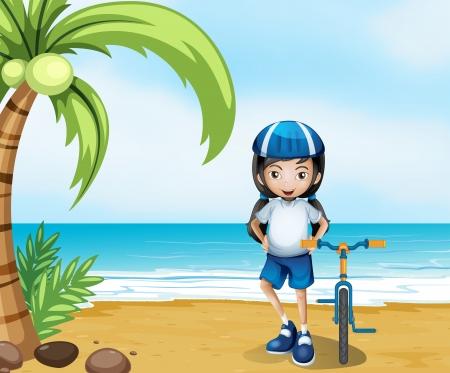 helmet bike: Illustration of a female biker standing at the beach Illustration