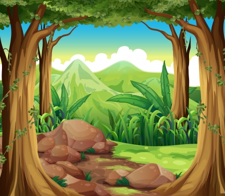 bush mesh: Illustration of the rocks at the forest Illustration