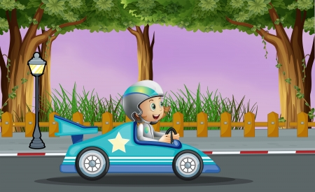 Illustration of a boy in his blue racing car with a white star Vector