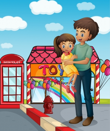 flaglets: Illustration of a father and his child near the toy store