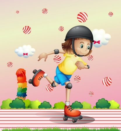 Illustration of a girl with a rollerskate Vector