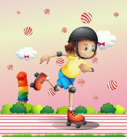 patinaje: Ilustraci�n de una ni�a con patines en l�nea