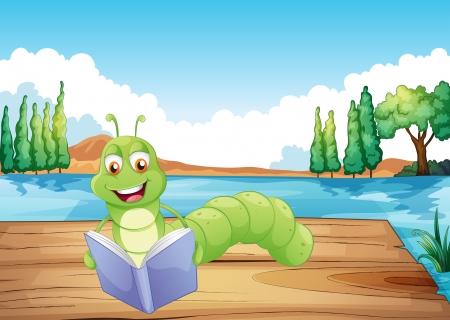 gusano caricatura: Ilustración de un gusano de la lectura de un libro