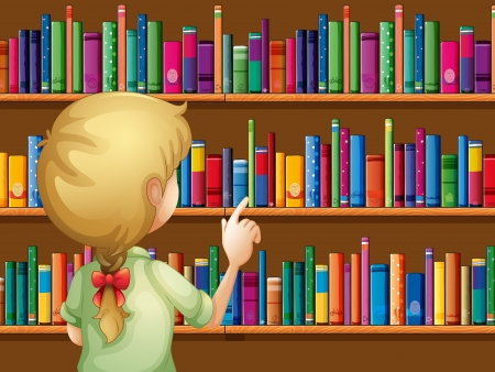 selecting: Illustration of a girl selecting books Illustration