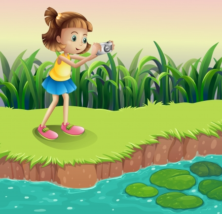 Illustration of a girl taking photos at the pond Vector