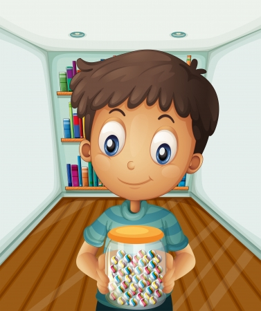 Illustration of a boy holding a jar of candies in front of the bookshelves Stock Vector - 21234175