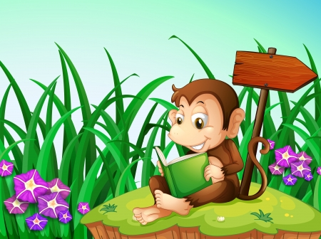 pointed arrows: Illustration of a monkey reading a book beside the arrowboard