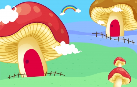 Illustration of the mushroom houses Vector