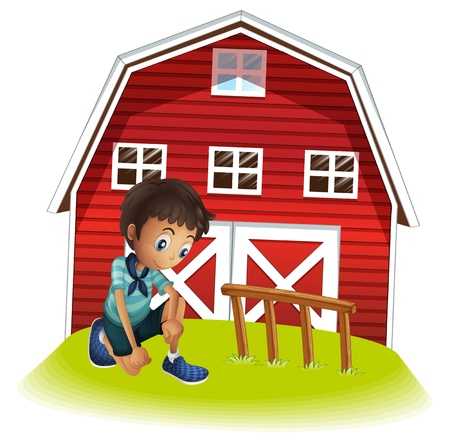 Illustration of a sad boy in front of the barnhouse on a white background Stock Vector - 21234346