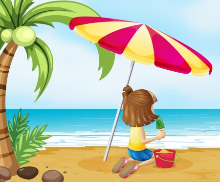 Illustration of a young girl playing with the castle at the beach Stock Vector - 21234349