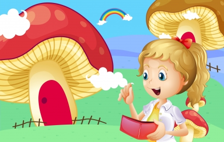 giant mushroom: Illustration of a girl holding a wallet near the giant mushroom houses Illustration