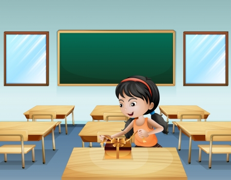 Illustration of a little girl wrapping a present Imagens - 21234352