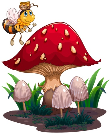 giant mushroom: Illustration of a bee with a honey flying near the red mushroom on a white background