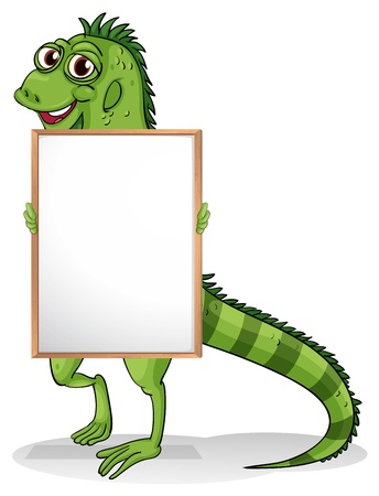 Illustration of an iguana holding a framed board on a white background