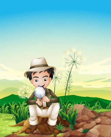 cutting grass: Illustration of a boy sitting above a stump holding a magnifying lens