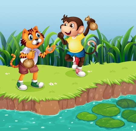 lilypad: Illustration of a monkey and a tiger playing
