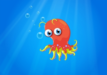 sanctuaries: Illustration of a red octopus in the middle of the sea