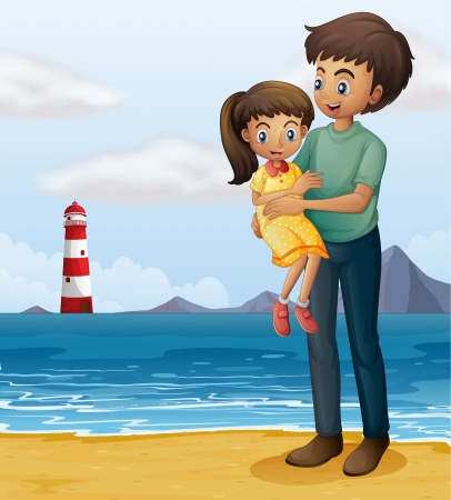 little girl beach: Illustration of a father and a daughter at the beach