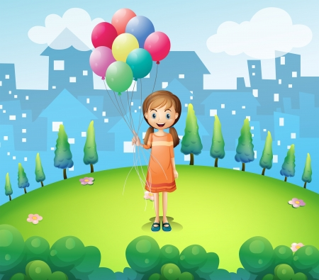 establishments: Illustration of a girl holding balloons in the city