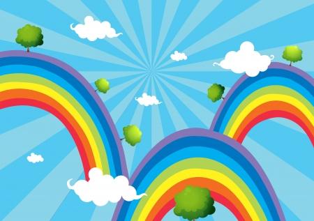 Illustration of the three rainbows Illustration