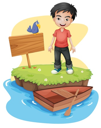 Illustration of a boy near the empty signboard with a bird on a white background Vector