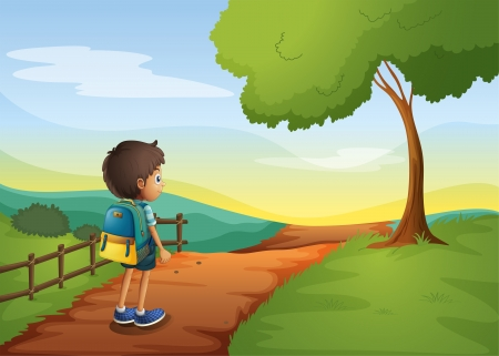 morning walk: Illustration of a young boy going to the school