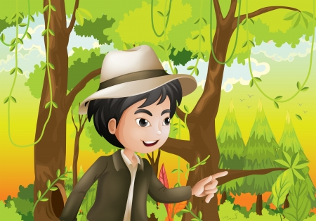 Illustraion of a gentleman in the forest Stock Vector - 21234387
