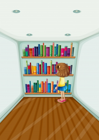 woman reading book: Illustration of a young girl in front of the bookshelves with books Illustration