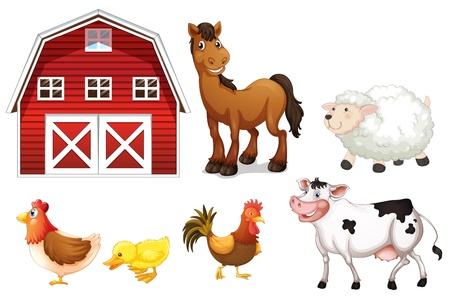 barn black and white: Illustration of the farm animals on a white background Illustration