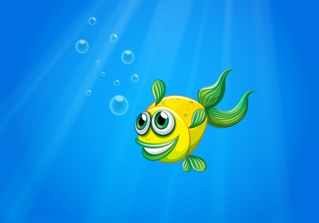 Illustration of a smiling yellow fish underwater Stock Vector - 21234412
