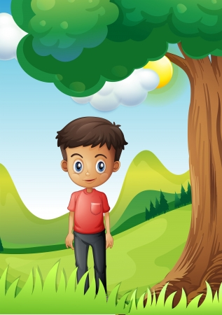 under tree: Illustration of a boy under the shade of a big tree Illustration