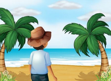 ocean plants: Illustration of a boy with a hat at the beach