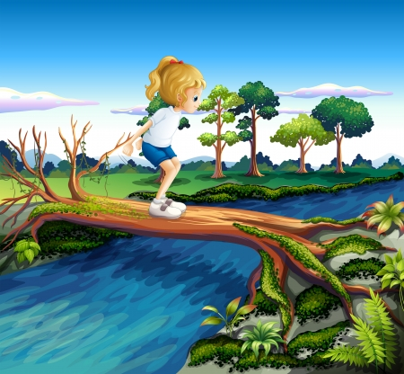 deep roots: Illustration of a girl playing above the trunk