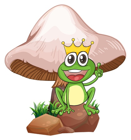 giant mushroom: Illustration of a king frog near the giant mushroom on a white background