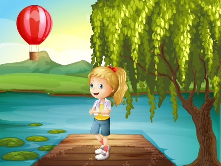 Illustration of a girl standing above the wooden bridge with a hot air balloon nearby Vector