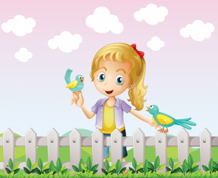 hillside: Illustration of a girl with two birds near the wooden fence Illustration