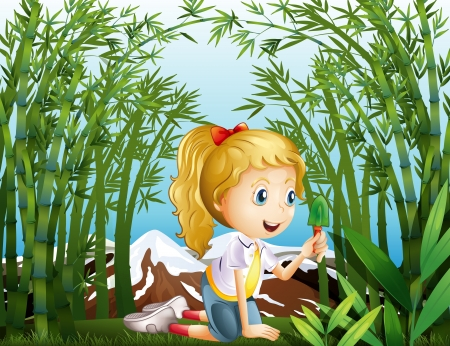 tall grass: Illustration of a girl with a green shovel kneeling in the rainforest