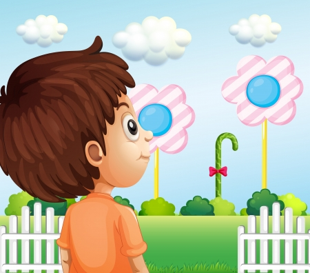 man looking at sky: Illustration of a child looking at the lollipop