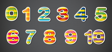 Illustration of the colorful numbers on a gray background Vector