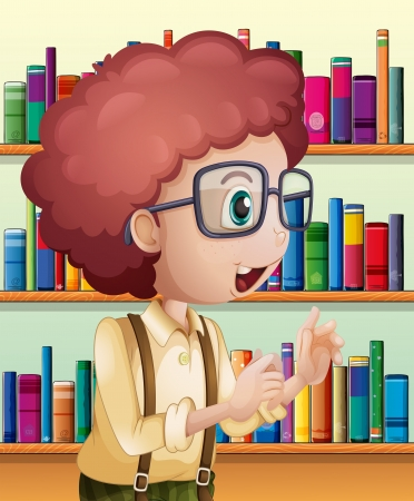 Illustration of a male librarian inside the library Stock Vector - 21234454