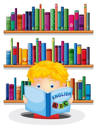 Illustration of a boy in the library reading an English book on a white background