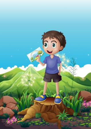 Illustration of a boy holding a picture standing above a stump Vector