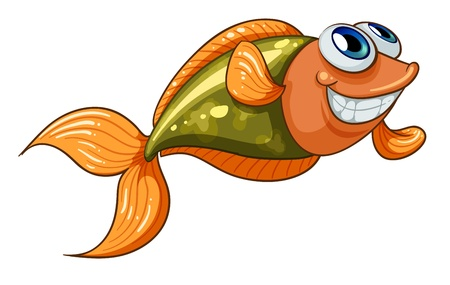 sea side: Illustration of a smiling tiny fish on a white background Illustration