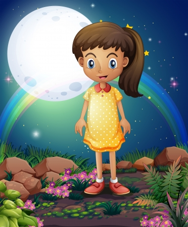 Illustration of a little girl in the rocky garden Vector