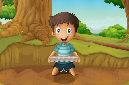 eggtray: Illustration of a boy holding an eggtray in the forest Illustration