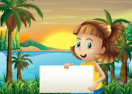 Illustration of a little girl holding an empty signage Vector