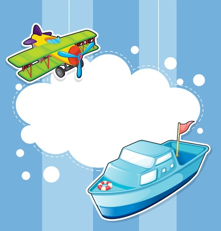 jetplane: Illustration of a stationery with a ship and a boat