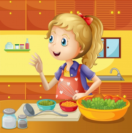 basin: Illustration of a young chef in the kitchen