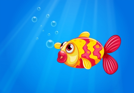 pouty: Illustration of a pouty fish in the middle of the sea
